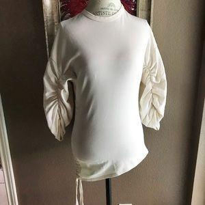 Zara cream cotton blend mid sleeve side tie top